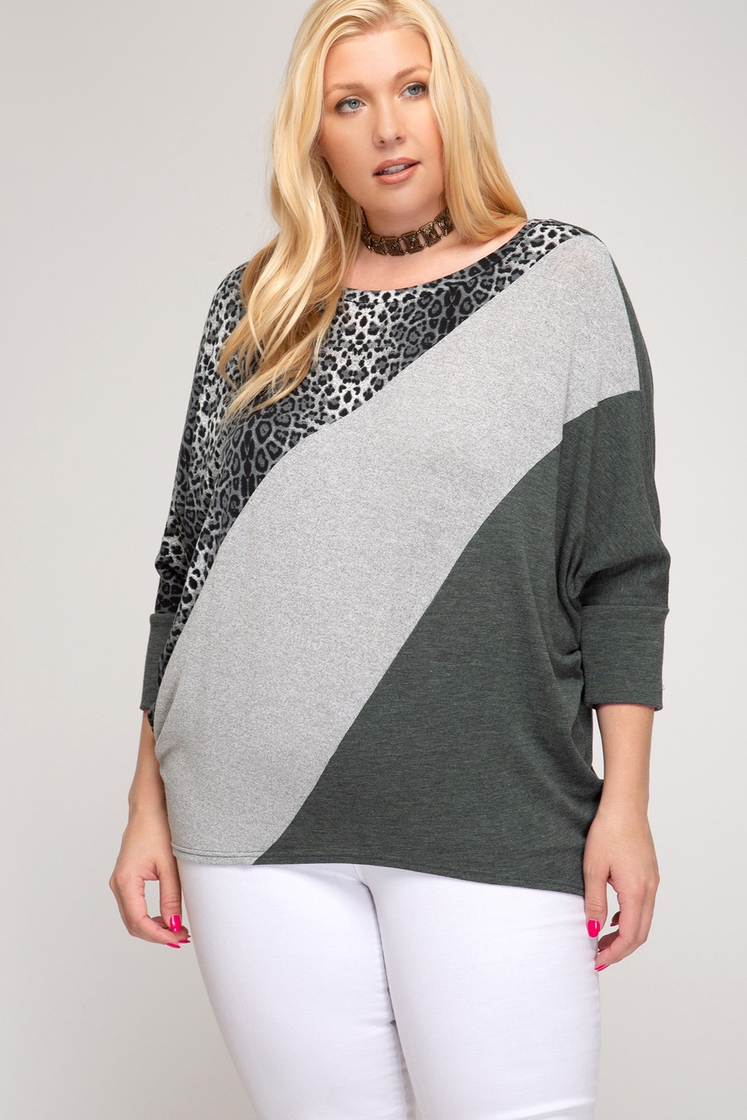 She and Sky 3/4 DOLMAN SLEEVE HACCI KNIT TOP WITH LEOPARD PRINT CONTRAST - Front Cropped Image