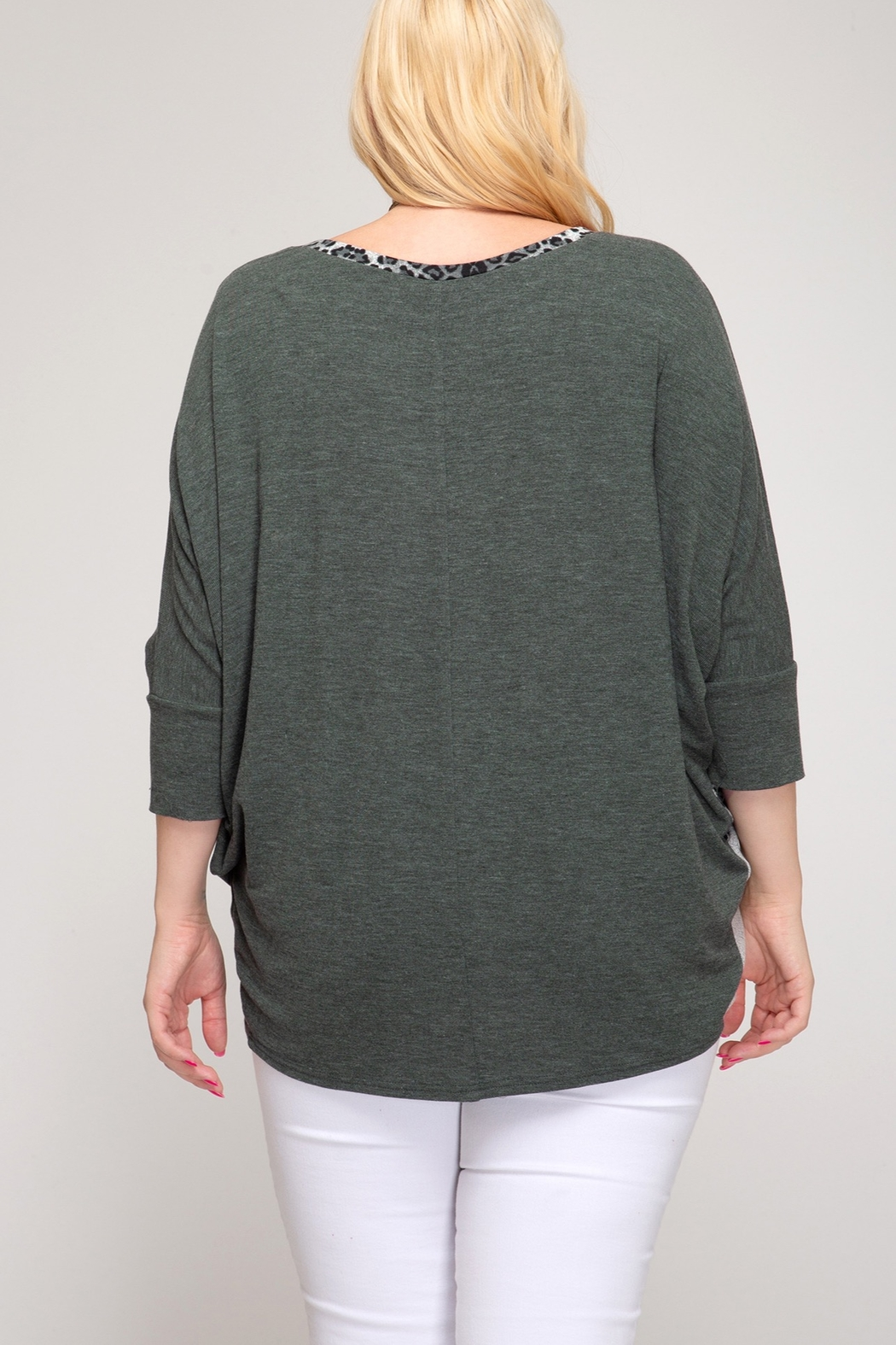 She and Sky 3/4 DOLMAN SLEEVE HACCI KNIT TOP WITH LEOPARD PRINT CONTRAST - Front Full Image
