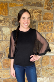 sisters 3/4 Mesh Slv Top - Front cropped