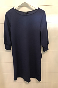 Aime 3/4 Puff Sleeve Boat Neck Solid Navy Dress with Pockets - Product List Image