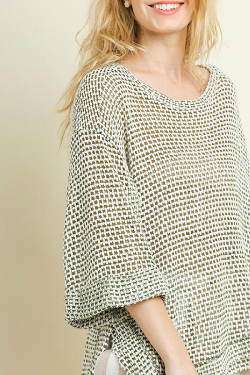 ce7096299 Umgee USA 3 4 Rolled Sleeve Waffle Knit Top from New York by Gado ...
