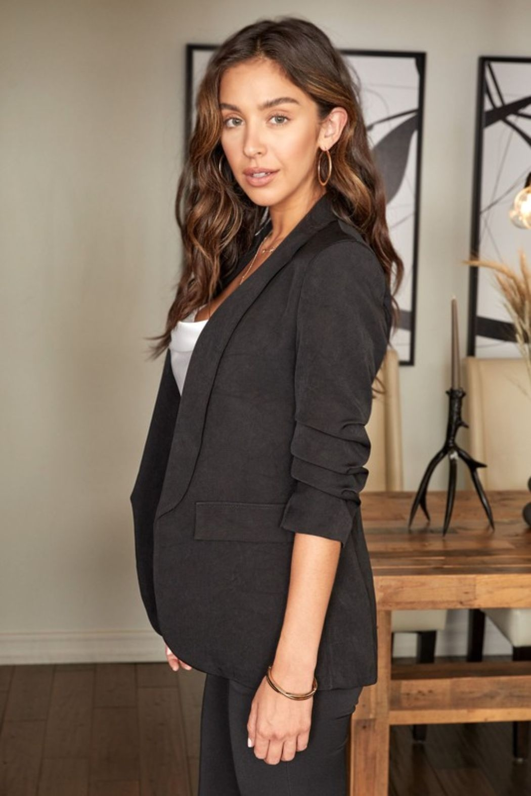 Venti 6 3/4 Ruched Sleeve Blazer - Front Full Image