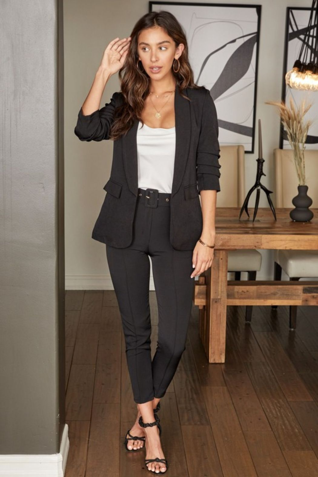 Venti 6 3/4 Ruched Sleeve Blazer - Back Cropped Image