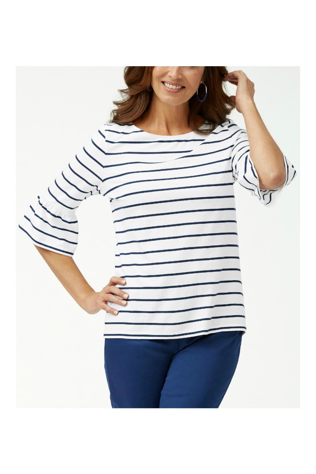 Tommy Bahama 3/4-Ruffle-Sleeve Top - Front Cropped Image