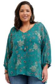 Democracy  3/4 Sleeve Asymmetrical Hem Floral Plus Top - Front cropped