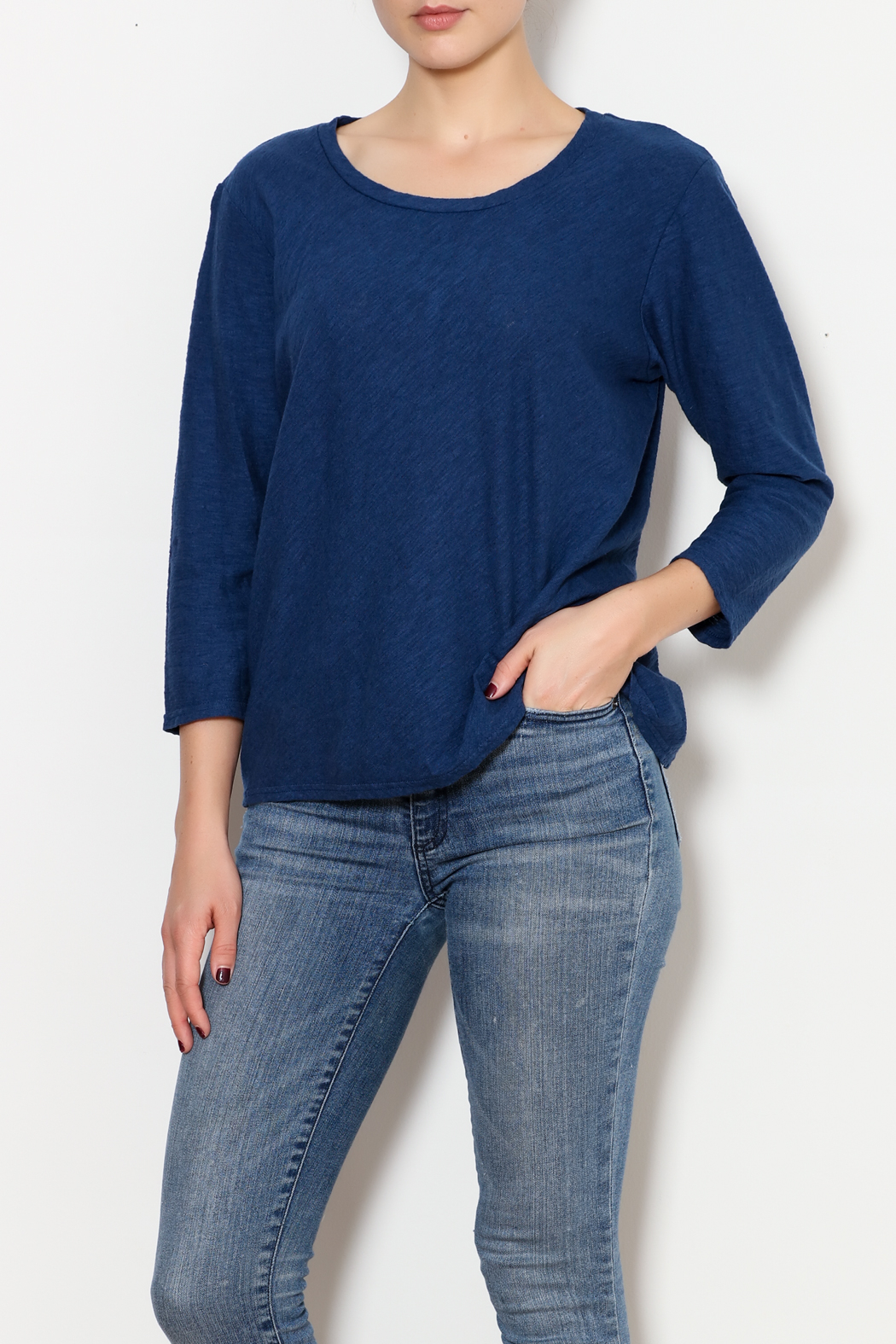 Cut Loose 3/4 Sleeve Bias Tee - Front Cropped Image