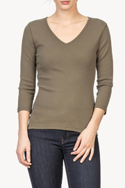 Lilla P 3/4 Sleeve Cotton V-Neck - Front cropped