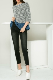 THML  3/4 sleeve drop shoulder with denim - Product Mini Image
