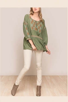 Shoptiques Product: 3/4-Sleeve Embroidered Top