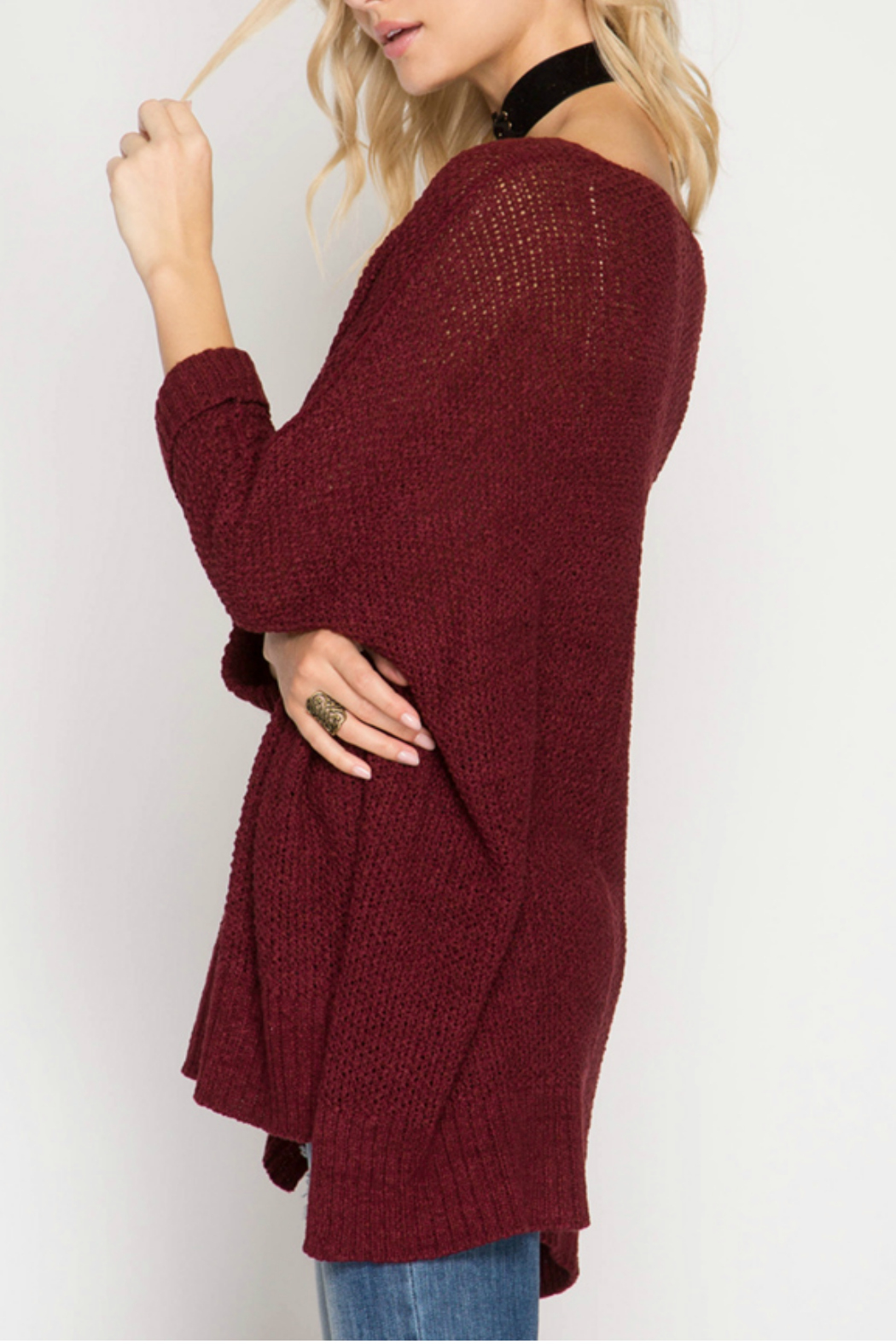 She + Sky 3/4 SLEEVE HI LOW SWEATER WITH FOLDED CUFFS - Front Full Image