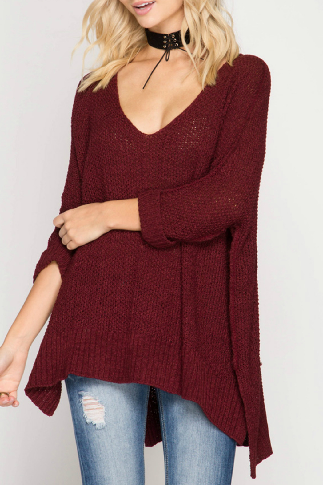 She + Sky 3/4 SLEEVE HI LOW SWEATER WITH FOLDED CUFFS - Main Image