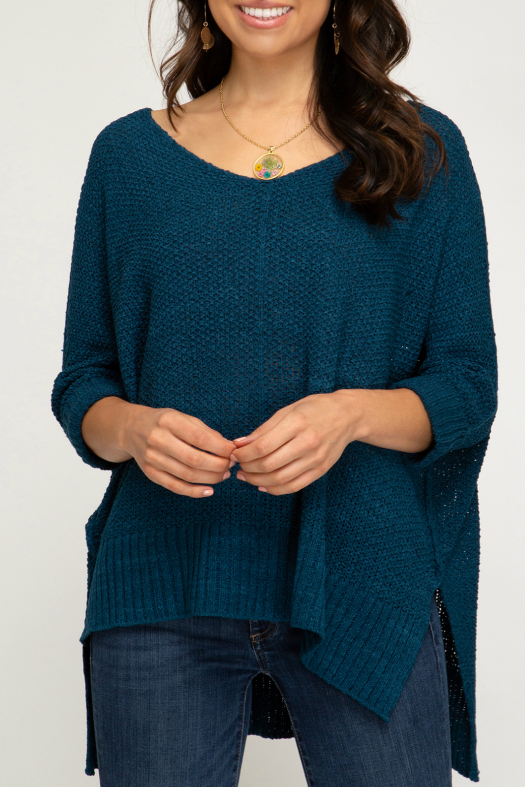 She + Sky 3/4 SLEEVE HI LOW SWEATER WITH FOLDED CUFFS - Front Cropped Image