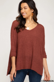 She and Sky 3/4 SLEEVE HILOW KNIT SWEATER TOP - Front cropped