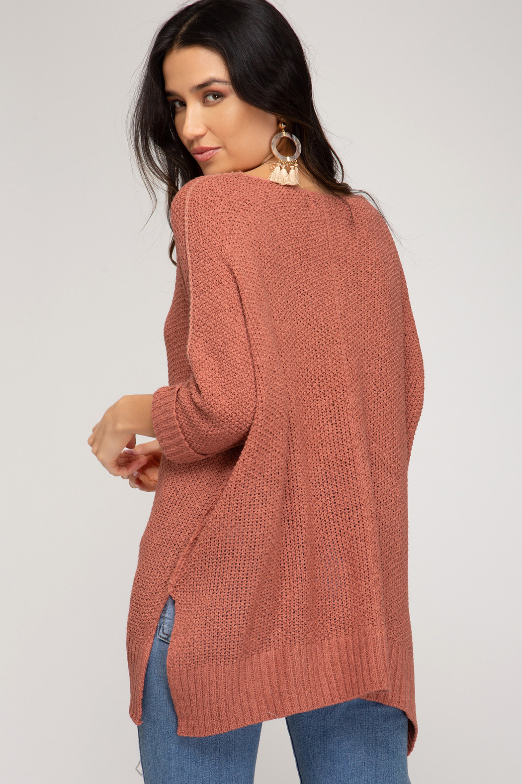 She and Sky 3/4 SLEEVE HILOW KNIT SWEATER TOP - Front Full Image