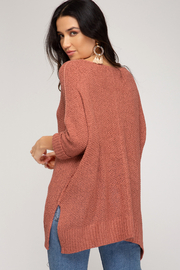 She and Sky 3/4 SLEEVE HILOW KNIT SWEATER TOP - Front full body