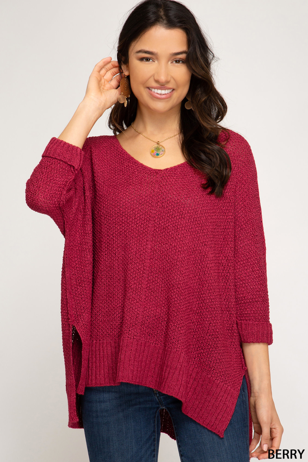 She and Sky 3/4 SLEEVE HILOW KNIT SWEATER TOP - Front Cropped Image