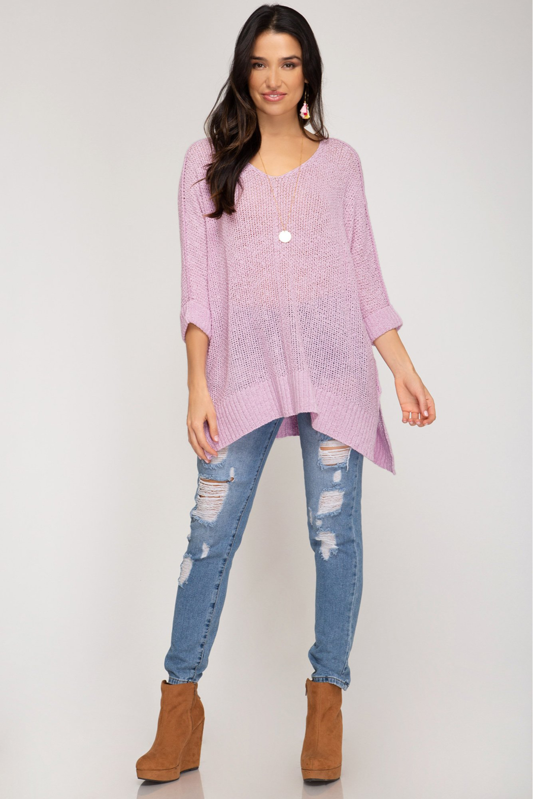 She and Sky 3/4 SLEEVE HILOW KNIT SWEATER TOP - Main Image