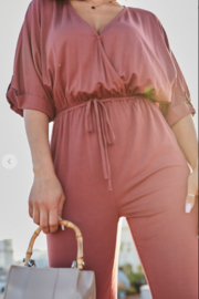 main strip  3/4 sleeve jumpsuit - Front cropped