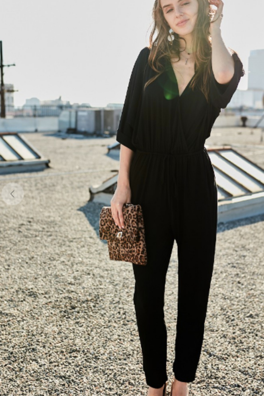 main strip  3/4 sleeve jumpsuit - Side Cropped Image