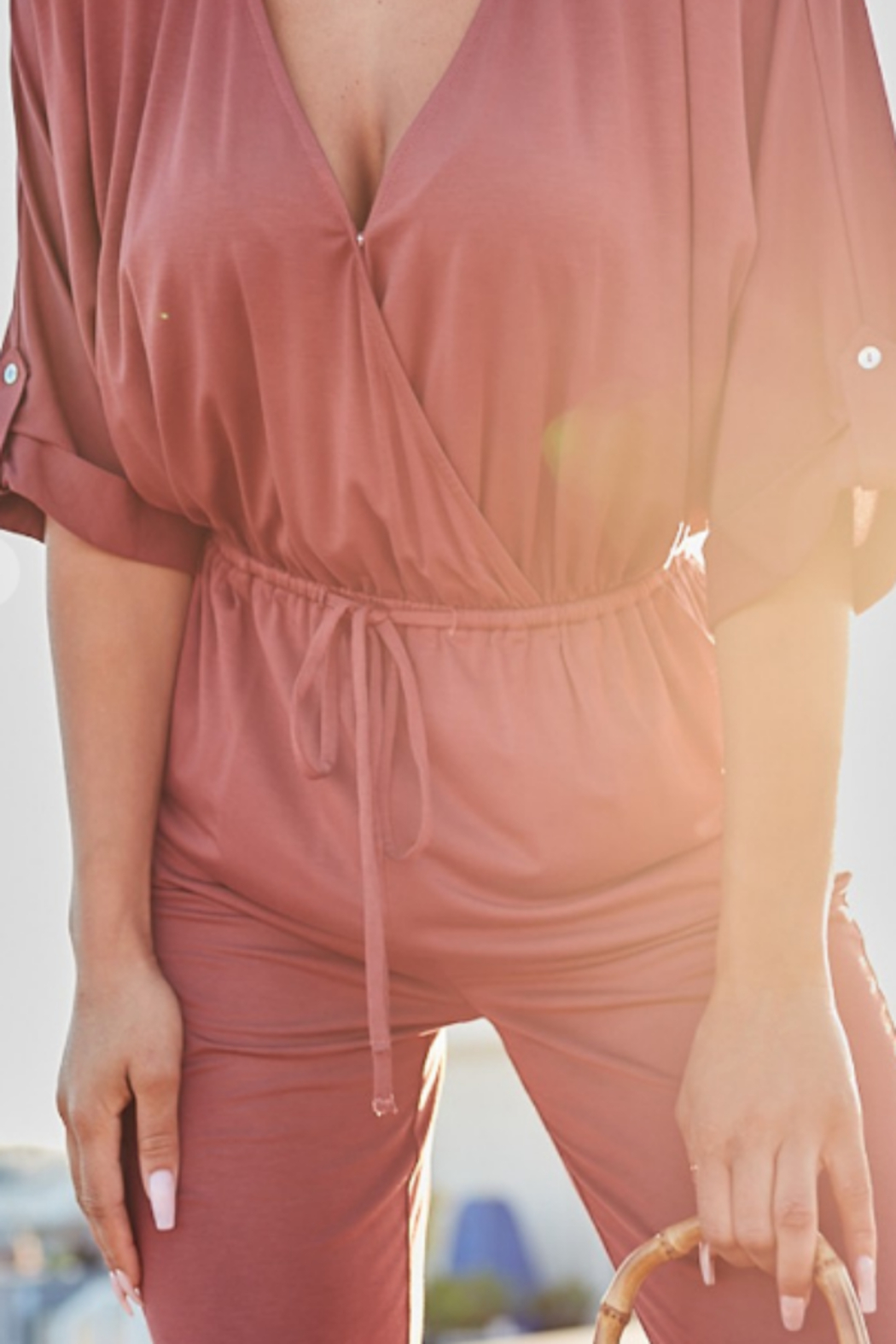 main strip  3/4 sleeve jumpsuit - Front Full Image