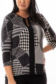 Bali Corp.  3/4 Sleeve Key Hole Sweater Top - Front full body