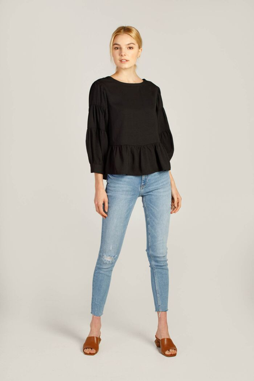 Moodie 3/4 Sleeve Peplum Top - Front Cropped Image