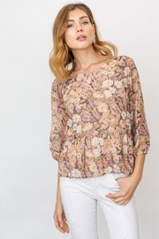 Gilli  3/4 Sleeve Round Neck Floral Printed Blouse - Product Mini Image