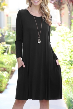 Shoptiques Product: 3/4-Sleeve-Solid-Rayon-Spandex Pocket Dress