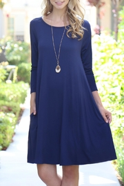 Riah Fashion 3/4-Sleeve-Solid-Rayon-Spandex Pocket Dress - Front cropped