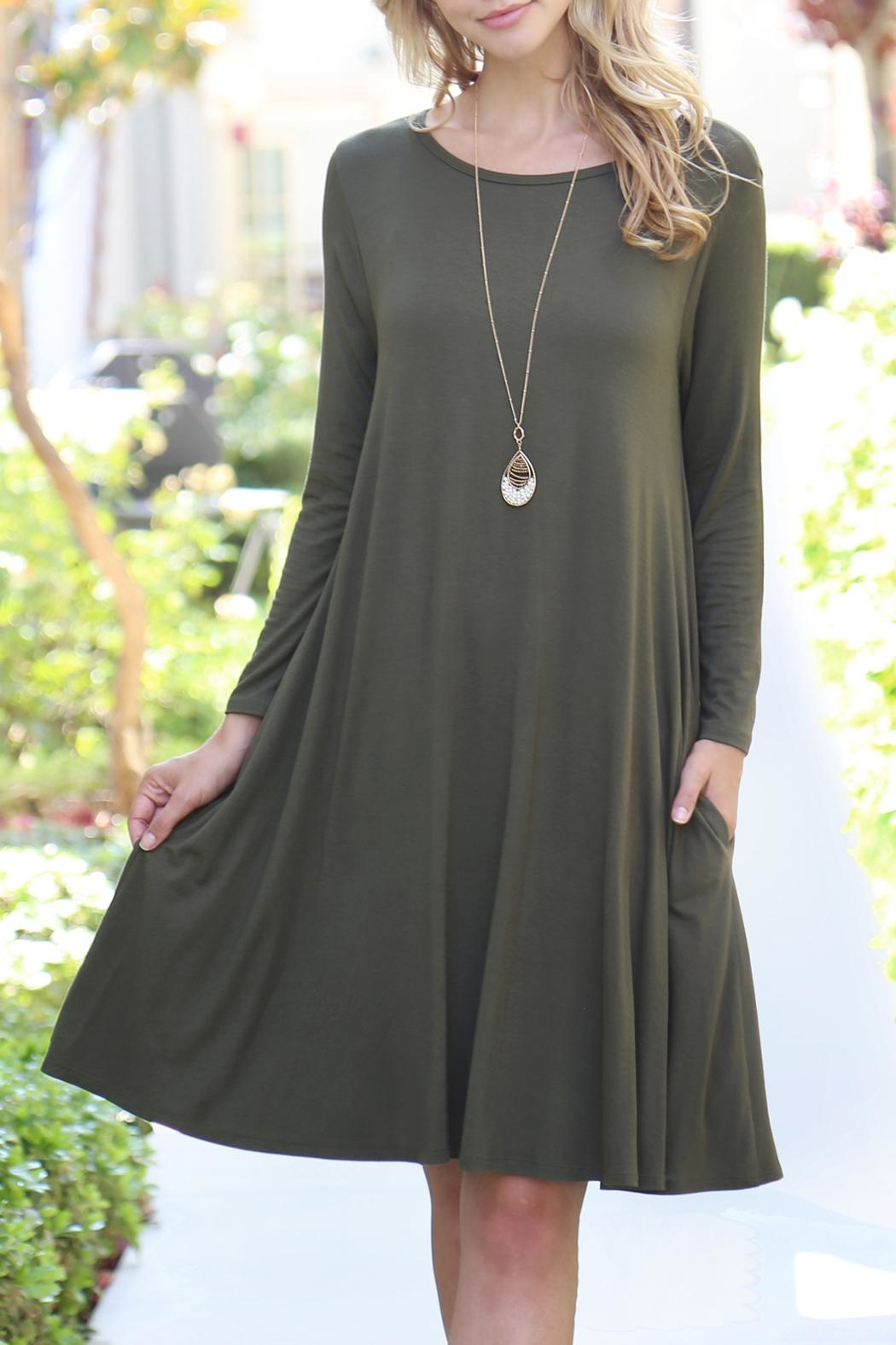 Riah Fashion 3/4-Sleeve-Solid-Rayon-Spandex Pocket Dress - Front Cropped Image