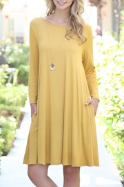 3 4 sleeve solid rayon spandex pocket dress yellow 591112d3 s