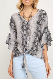 She + Sky 3/4 Sleeve Tie Bottom Blouse - Front cropped