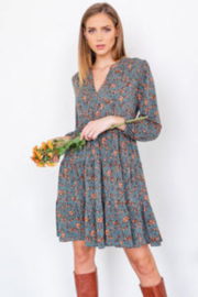 Gilli  3/4 Sleeve Tiered Floral Print Midi Dress - Product Mini Image
