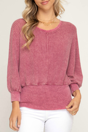 She + Sky 3/4 sleeve washed knit top - Product Mini Image