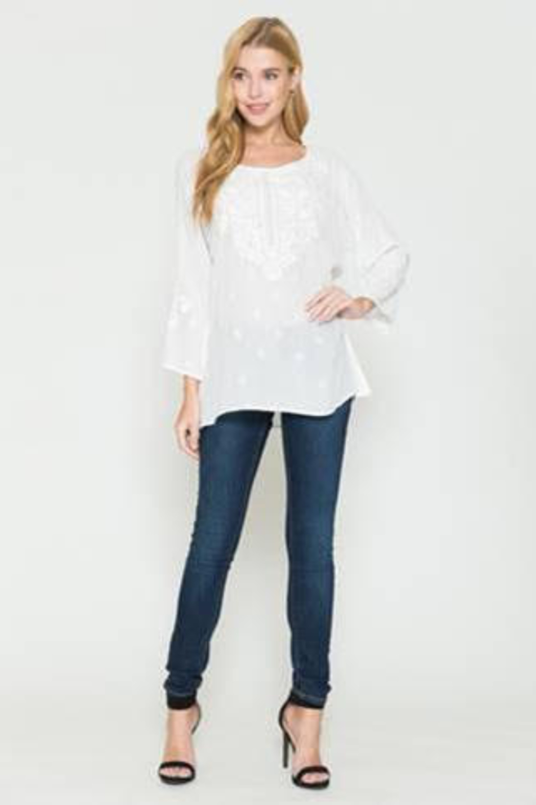 Apparel Love 3/4 Sleeve White Tunic with Embroidery - Main Image