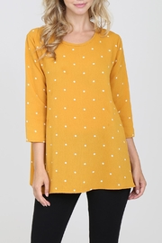 Riah Fashion 3/4-Sleeved-Keyhole-Back Polka-Dot Blouse - Product Mini Image