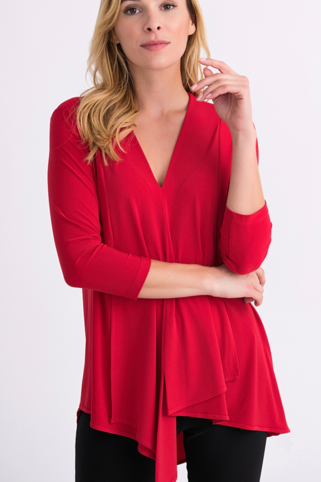 161066T Red, flowy asymmetrical tunic top, 3/4 length sleeve, 4-neck - Main Image