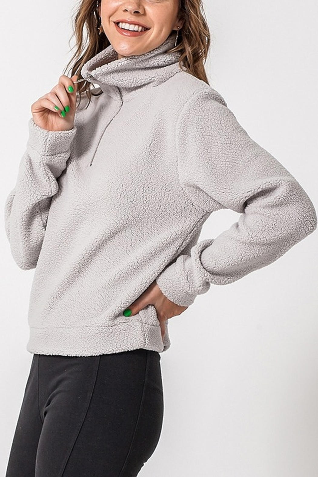 Lyn -Maree's 3/4 Zip Sherpa Pullover - Main Image