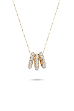 Shoptiques Product: 3-Diamond Striped-Beads Necklace