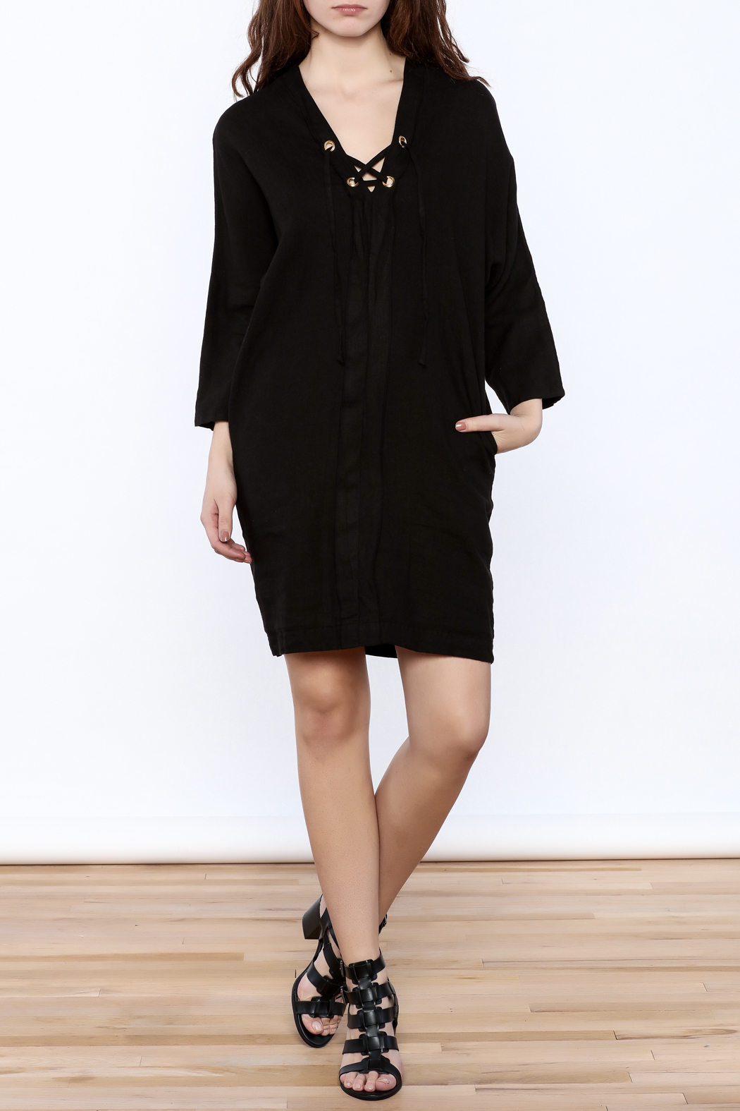 3 Dot Lace-Up Linen Dress - Front Full Image