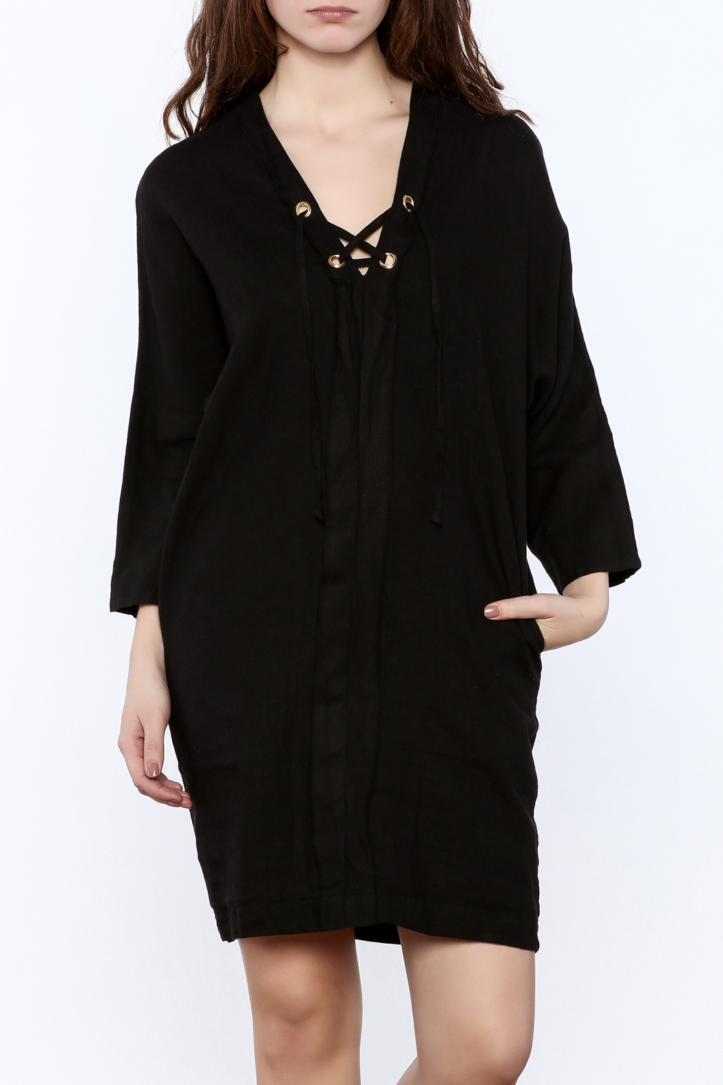 3 Dot Lace-Up Linen Dress - Front Cropped Image