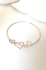 Maui Ocean Jewelry 3 Heart Bangle - Front cropped