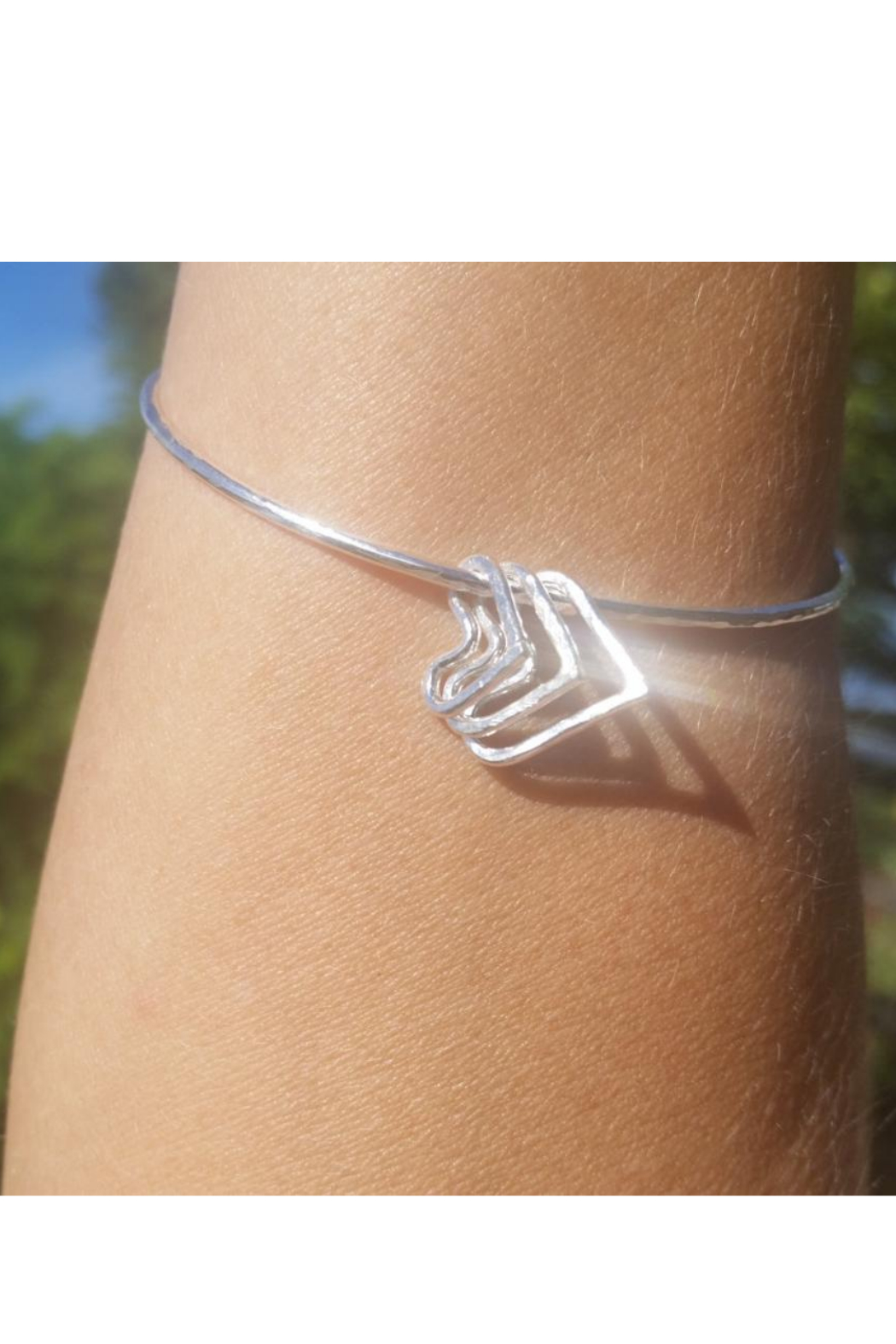 Maui Ocean Jewelry 3 Heart Bangle - Front Cropped Image