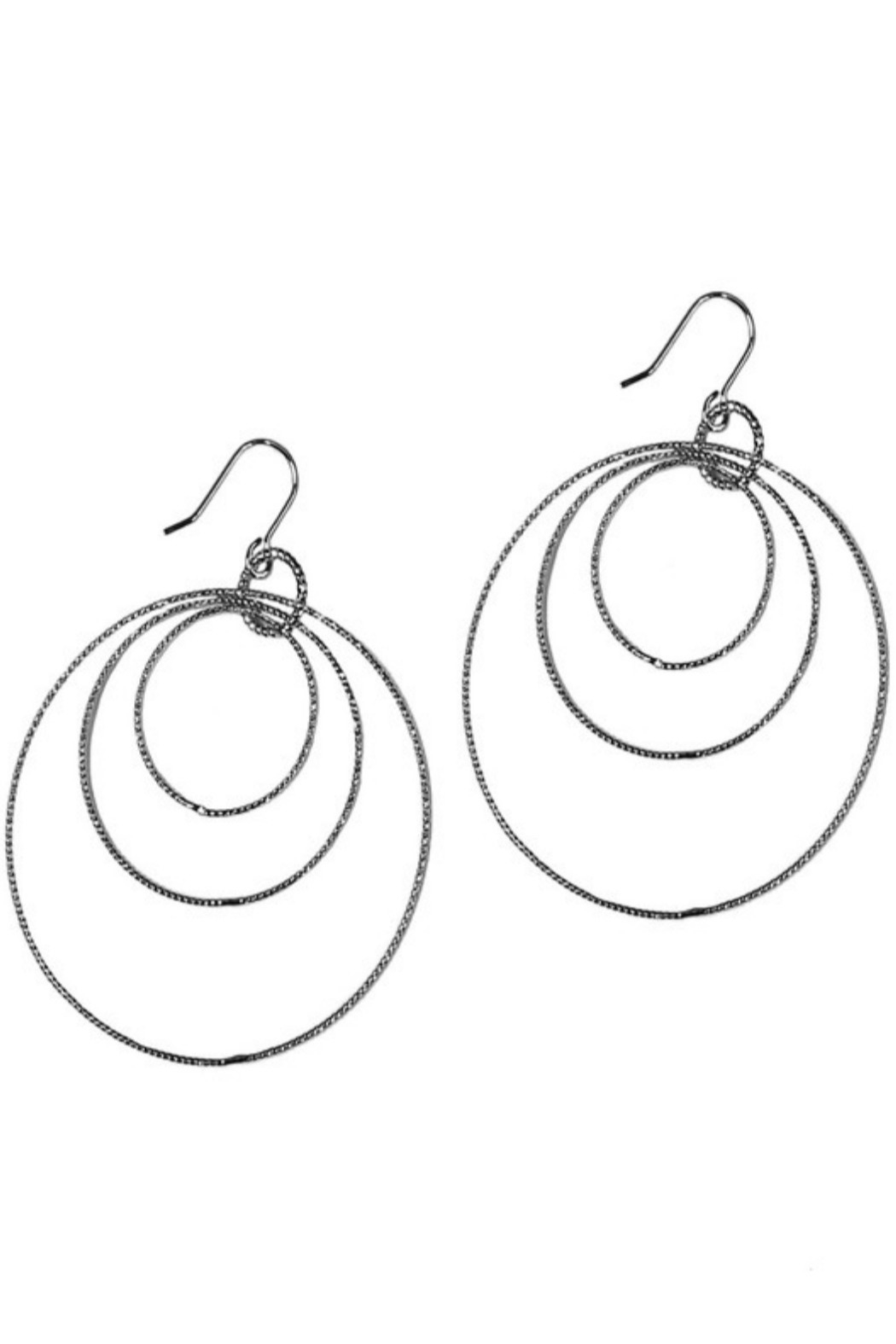 Girly 3 Linked Circles Hoop Earrings - Main Image