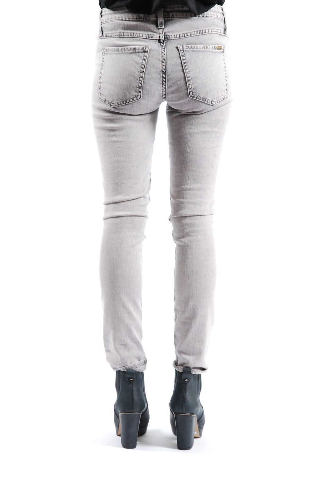 Acquaverde Colored Scarlett Skinny Jeans - Back Cropped Image
