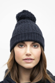 Kinross Cashmere CABLE POMPOM HAT - Front cropped