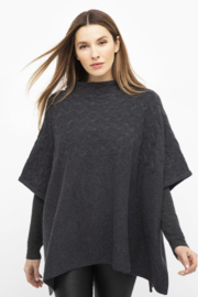 Kinross Cashmere CABLE FUNNEL PONCHO - Product Mini Image