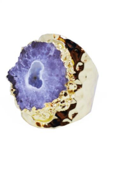 Whitley V HAMMERED GOLD PLATED CUFF RING WITH STALACTITE STONE - Product List Image