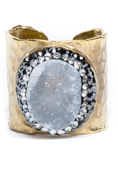 Whitley V PAVE TRIMMED DRUZY CUFF RING - Product List Image