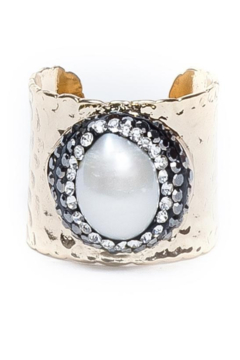 Whitley V PAVE TRIMMED MOTHER OF PEARL GOLD CUFF RING - Alternate List Image